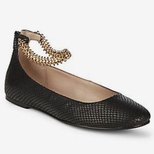 BCBGeneration 8.5 Gina Chain Ankle Strap Flats